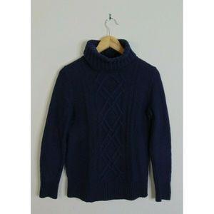 J.Crew S Turtleneck Sweater Chain-Link Blue Wool